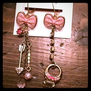Betsey Johnson Vintage Tea Party Pink Bow Earrings